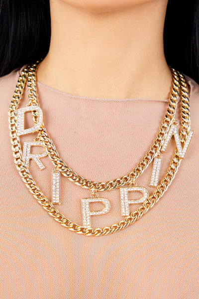 Gold Diamond Drippin Necklace