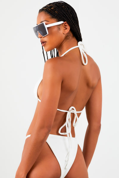 White Velvet Triangle Bikini Set