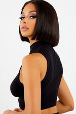 Sorella Ruched Tie Crop Top - Black