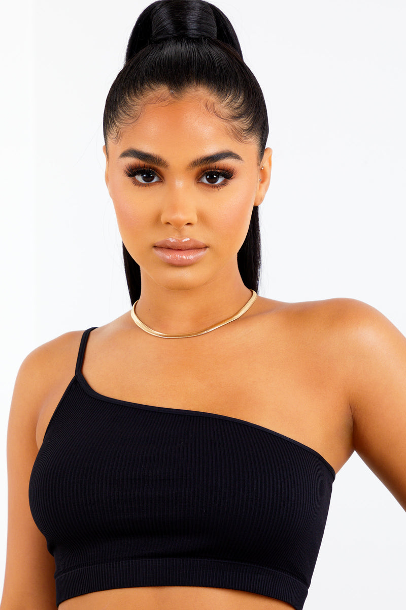 Black One Shoulder Ribbed Bralette
