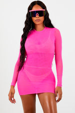 Hot Pink Mesh Long Sleeve Dress