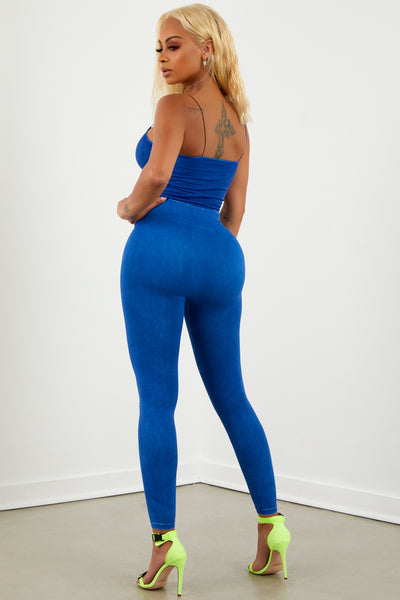 Royal Blue Washed Leggings