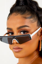 Sports Visor Sunglasses- White/Black