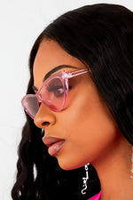 Retro Cat Eye Sunglasses - Pink