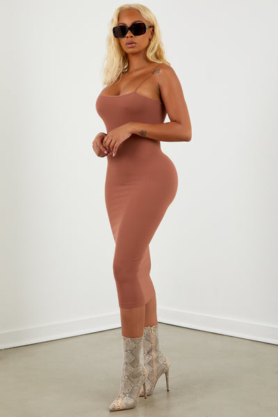 Copper Basic Midi Skinny Strap Dress