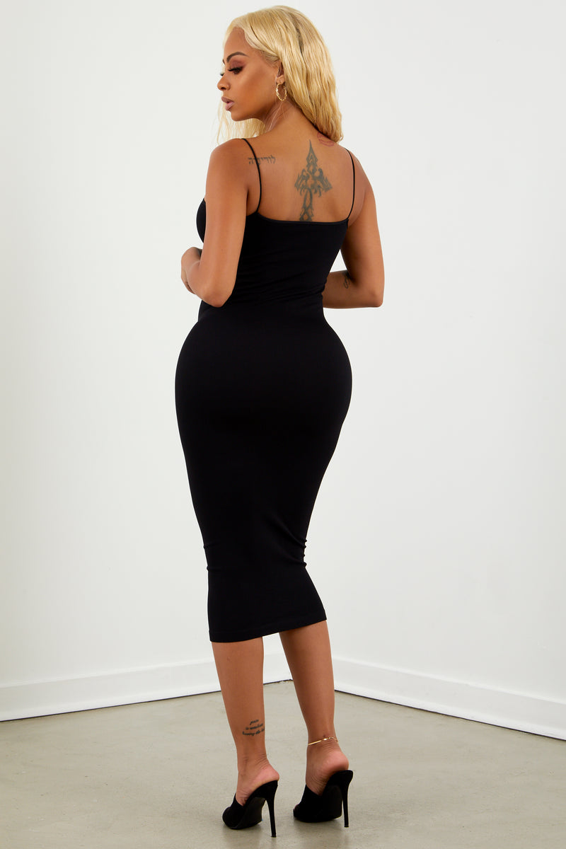 Black Basic Midi Skinny Strap Dress