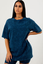 Sorella Acid Wash Tee - Navy
