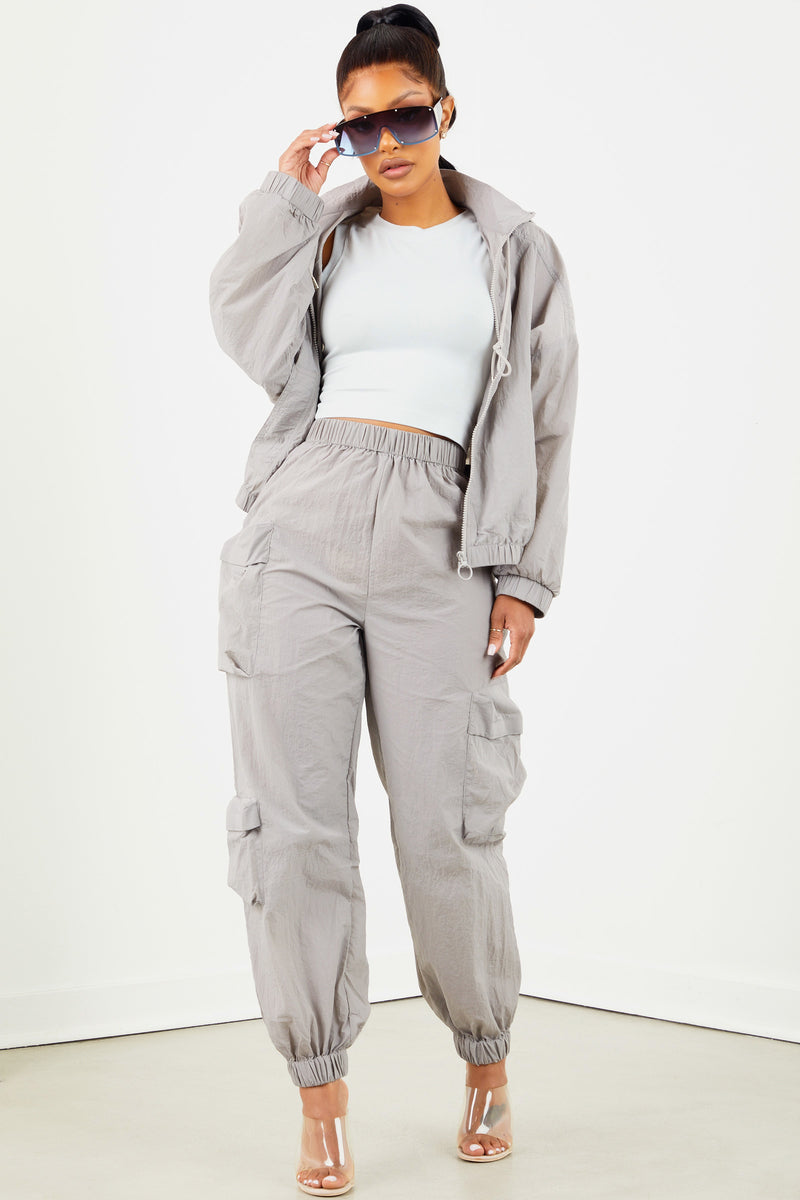 Grey Nylon Windbreaker Joggers