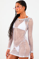 White Fishnet Mini Dress