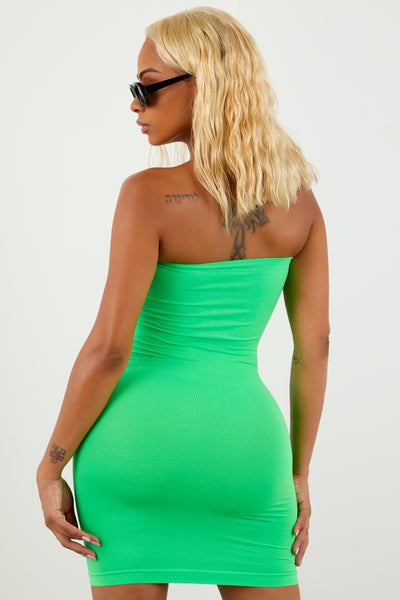 Neon Green Tube Top Dress