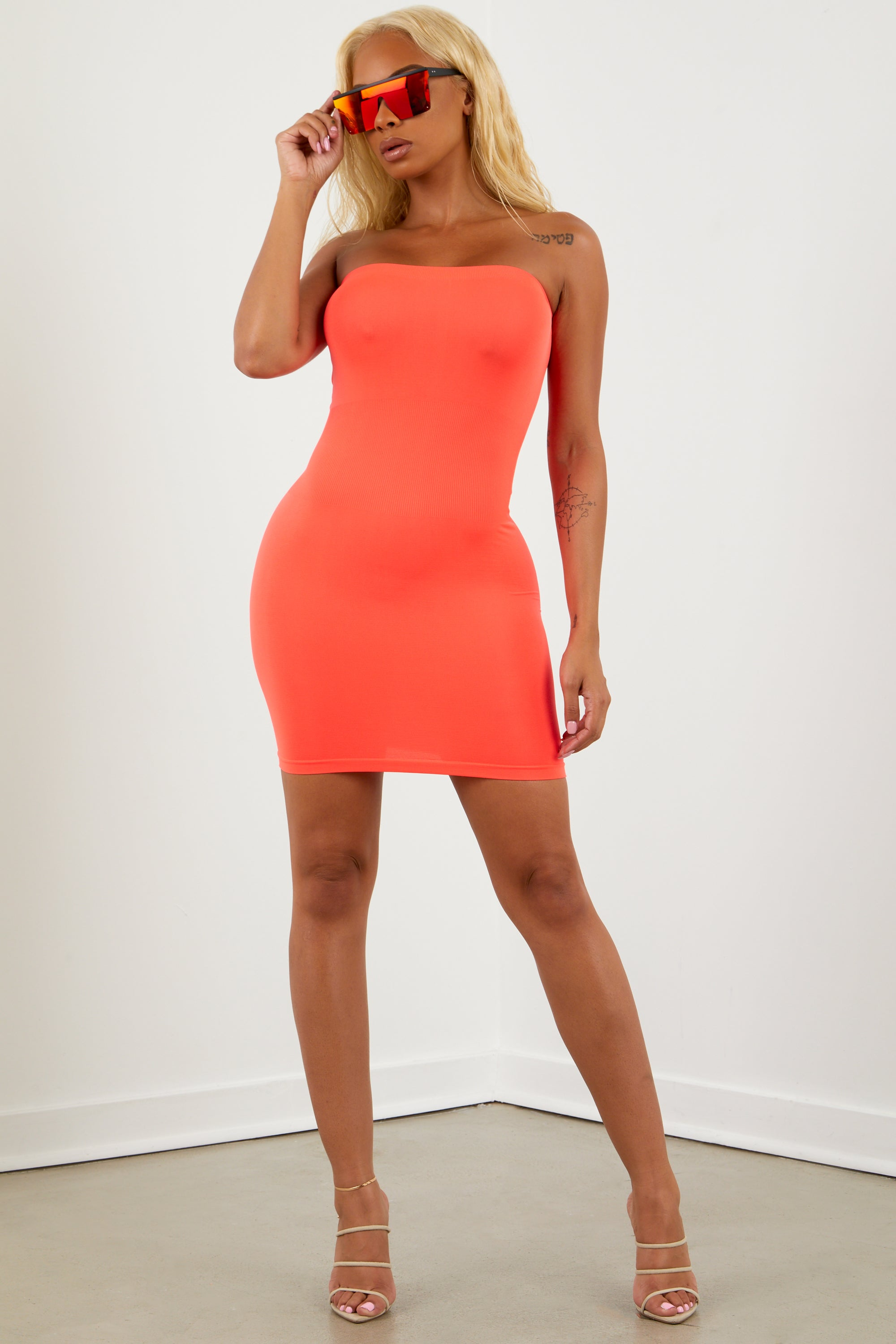 Neon Orange Tube Top Dress