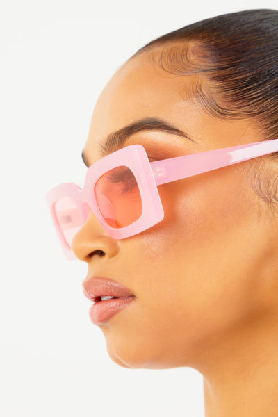 Pink Thick Framed Sunglasses