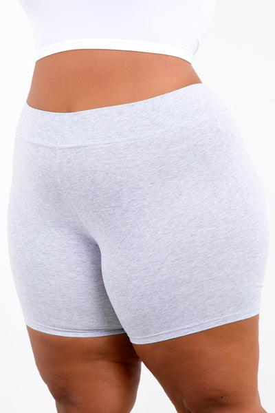 Grey Shape Cotton Biker Shorts