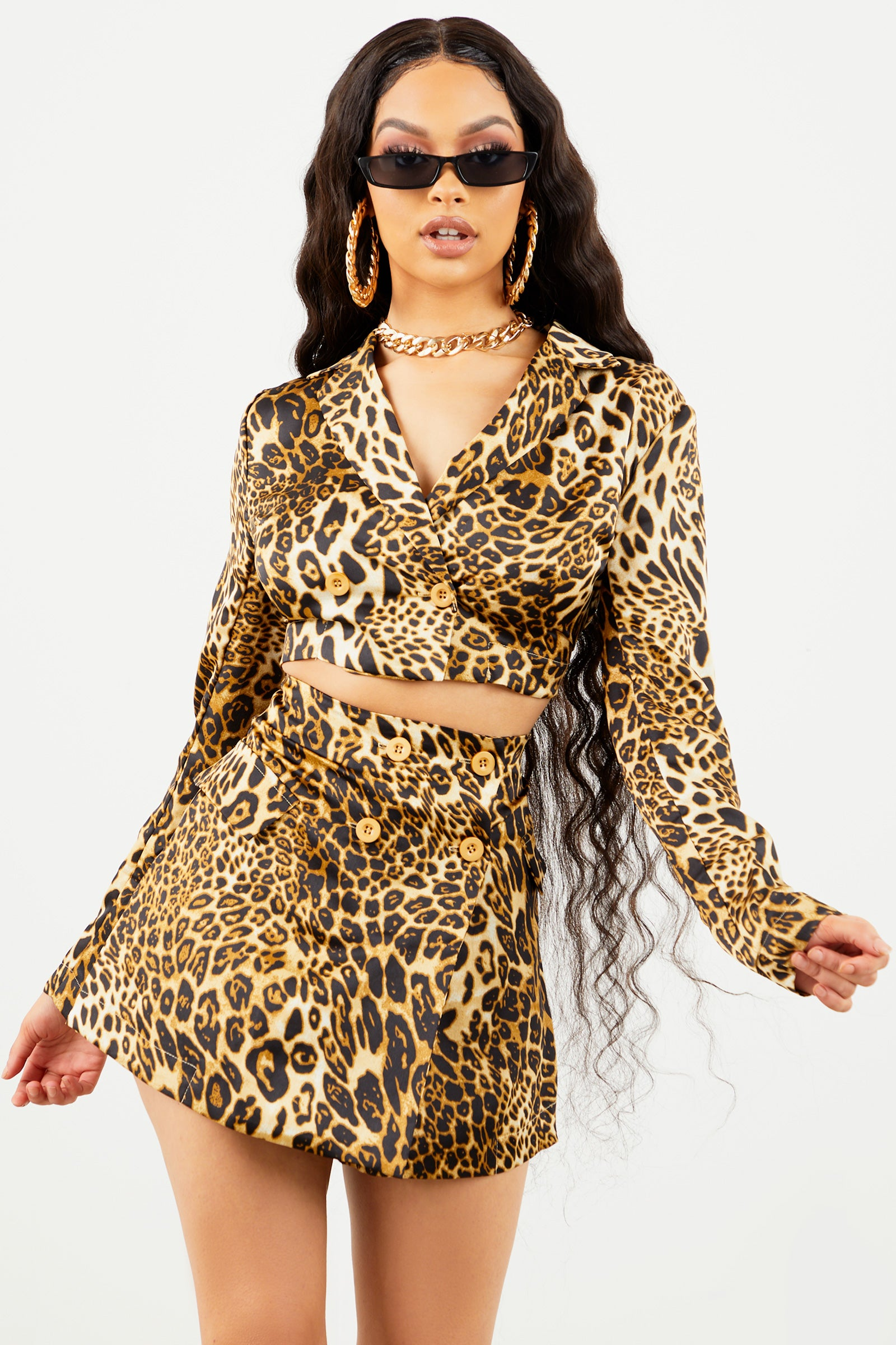 Satin Leopard Mini Skirt