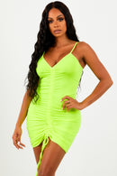 Neon Yellow Middle Ruched Mini Dress