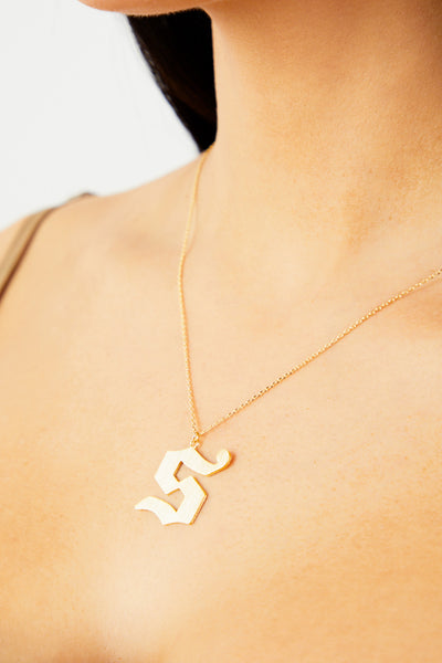 Letter S Thick Initial Necklace - Gold