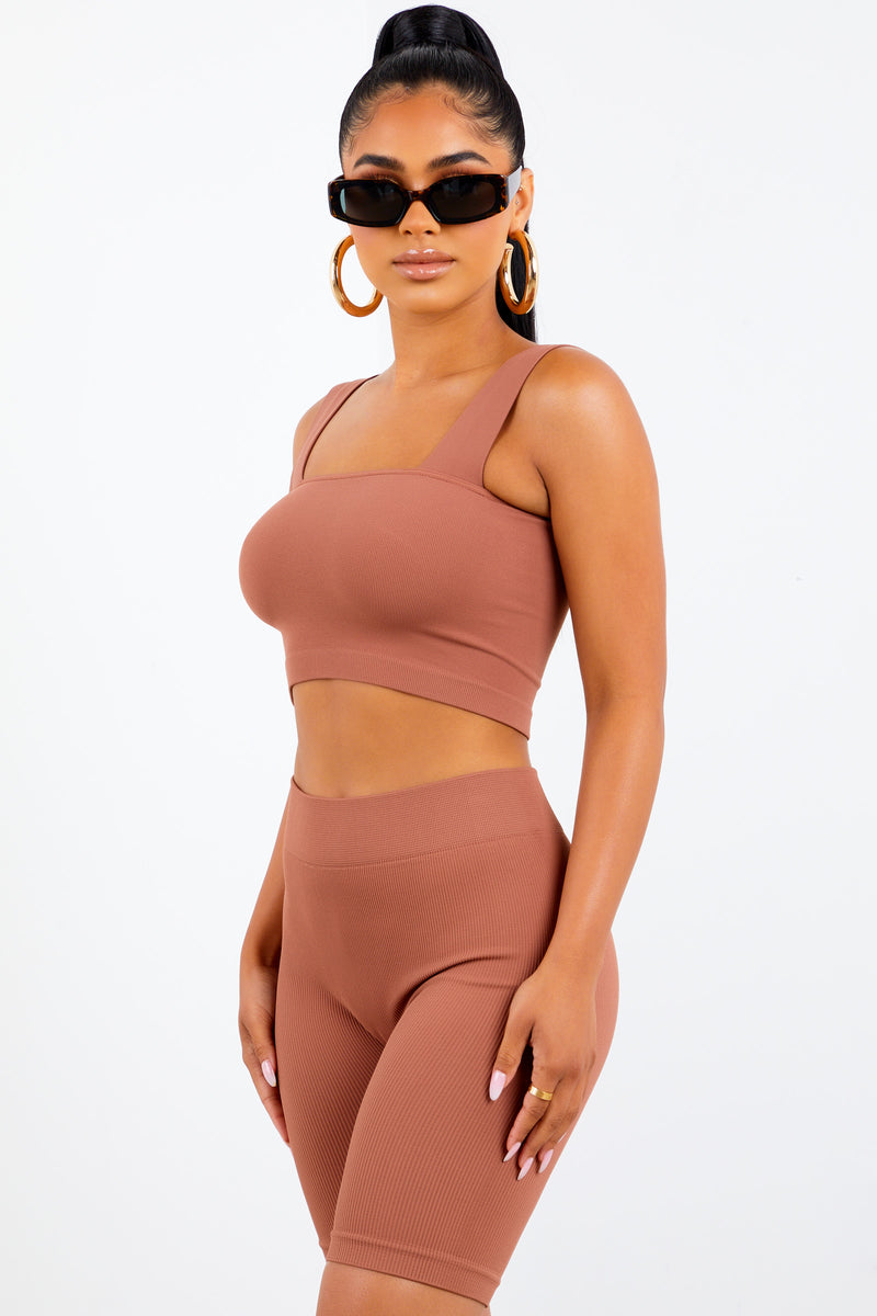 Copper Basic Square Neck Crop Top