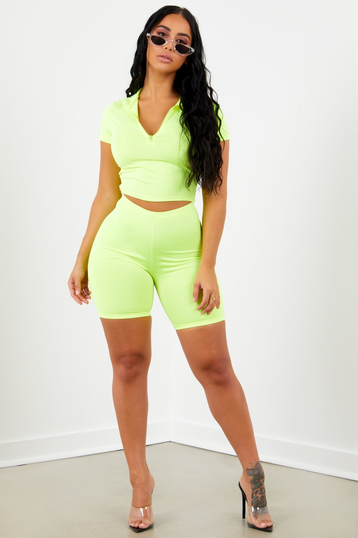 Sorella Athletic Biker Shorts - Neon Yellow