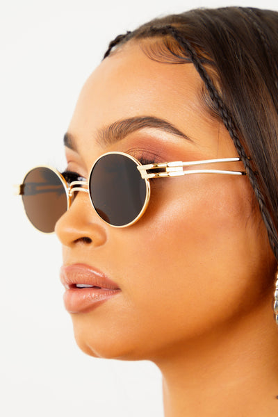 Round Retro Sunglasses - Brown/Gold