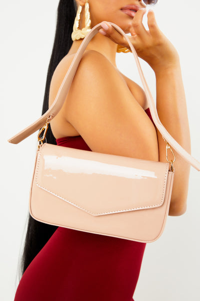 Nude Pantent 90s Shoulder Bag