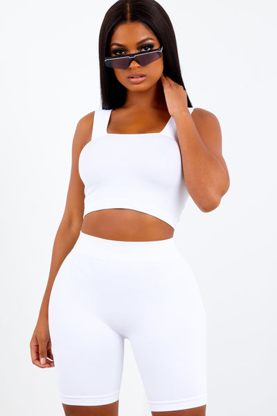 White Basic Ribbed Biker Shorts