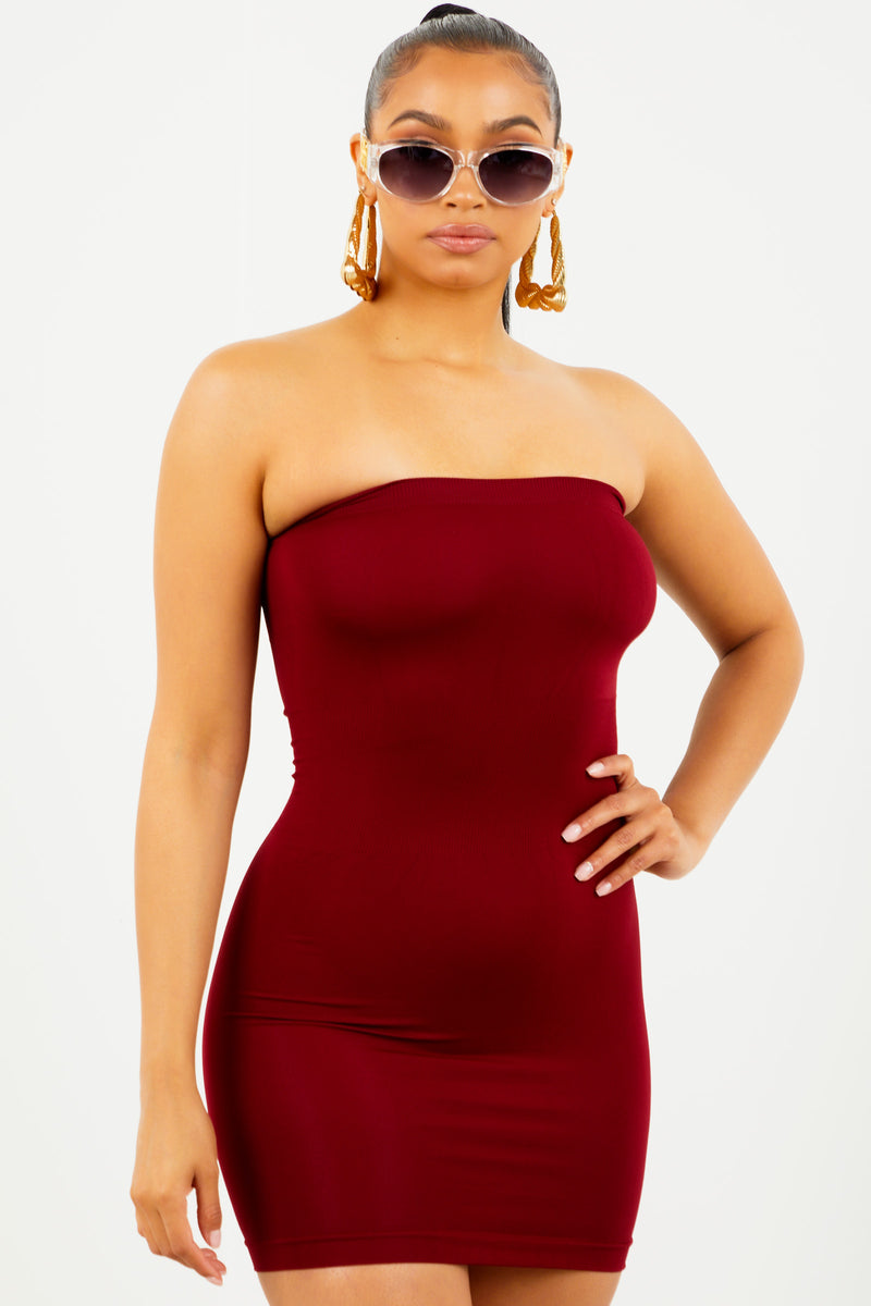Burgundy Tube Top Dress by Sosorella, available on sosorella.com for $15 Kylie Jenner Dress SIMILAR PRODUCT
