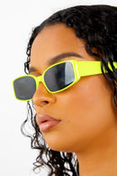 Neon Yellow Rectangular Sunglasses