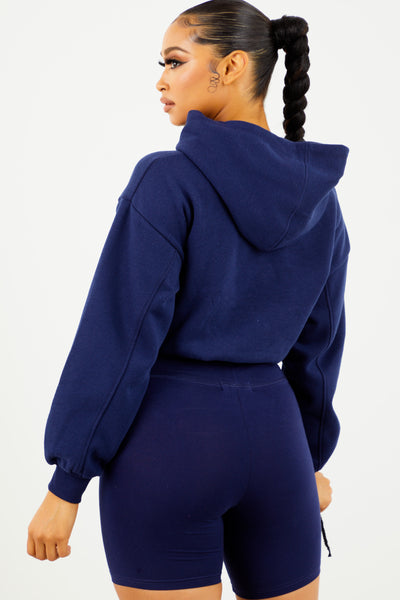 Navy Blue Fleece Cropped Hoodie