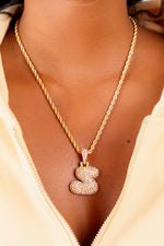 Diamond Letter S Necklace- Gold
