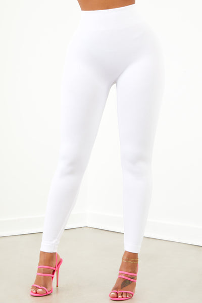 White Basic High Waist Fleece Leggings