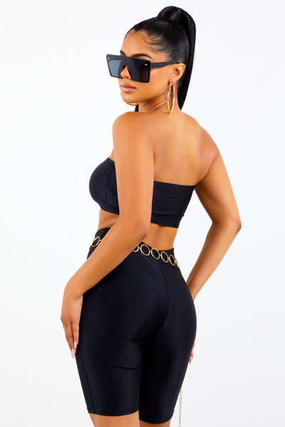 Black Strapless Athletic Biker Set