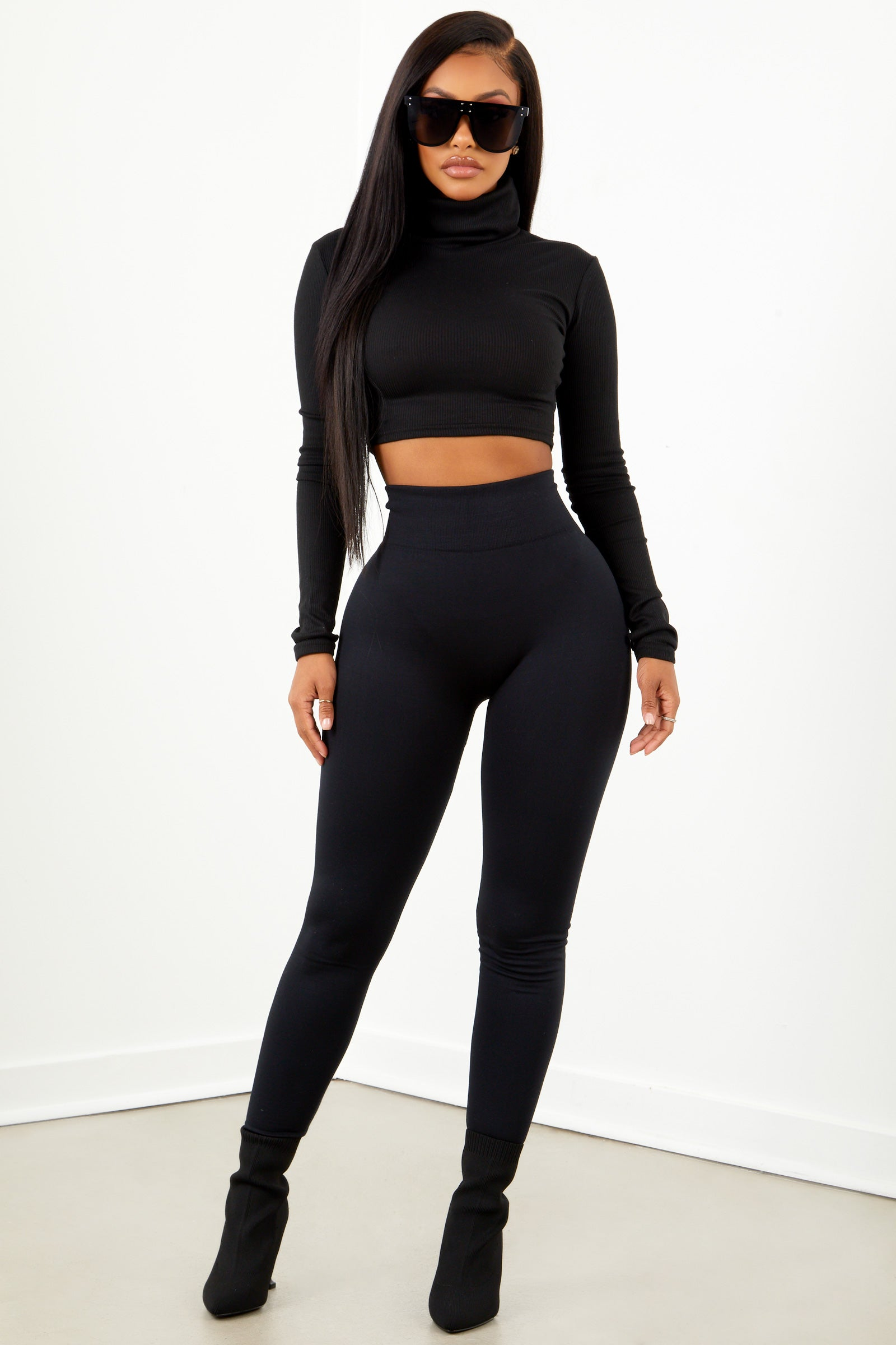 Black Basic High Waist Fleece Leggings
