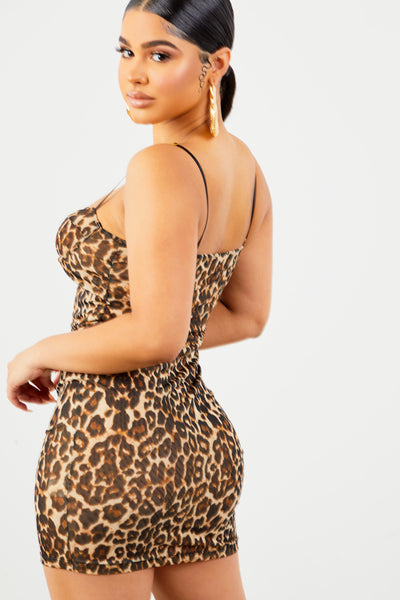 Leopard Print Mesh Mini Dress