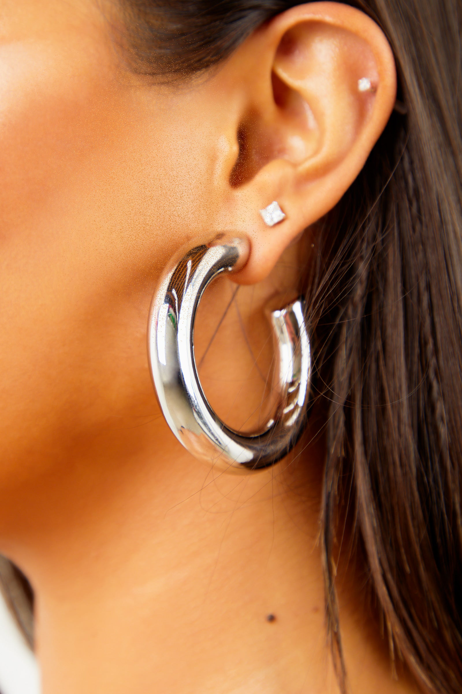 Solid Silver Thick Hoops