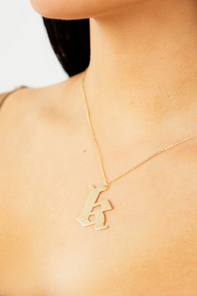Letter K Thick Initial Necklace - Gold