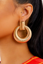Gold Ribbed Textured Drop Earrings