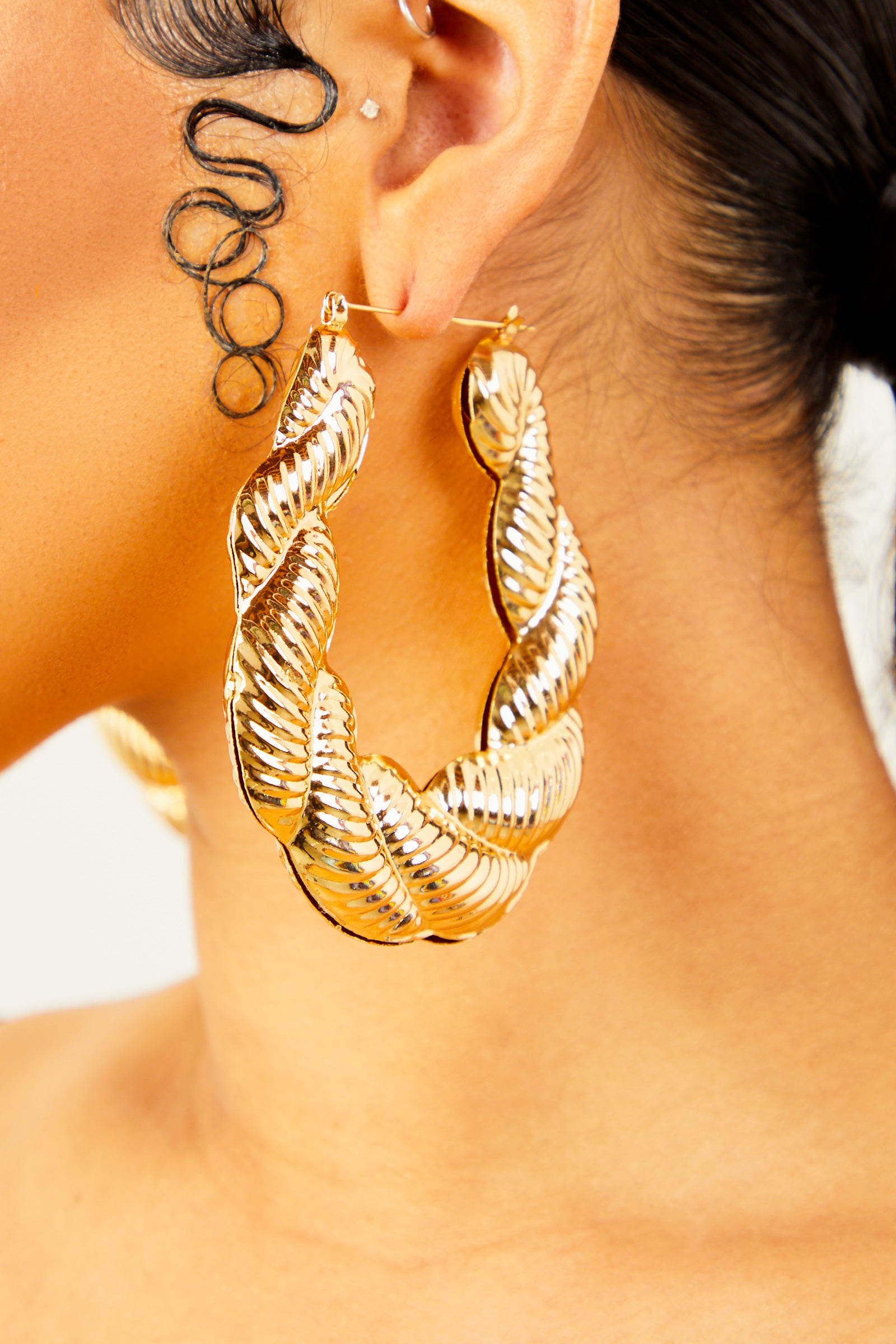 Bamboo Tear Drop Earrings - Gold