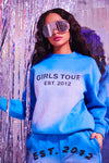 Blue Girls Tour Acid Wash Crewneck