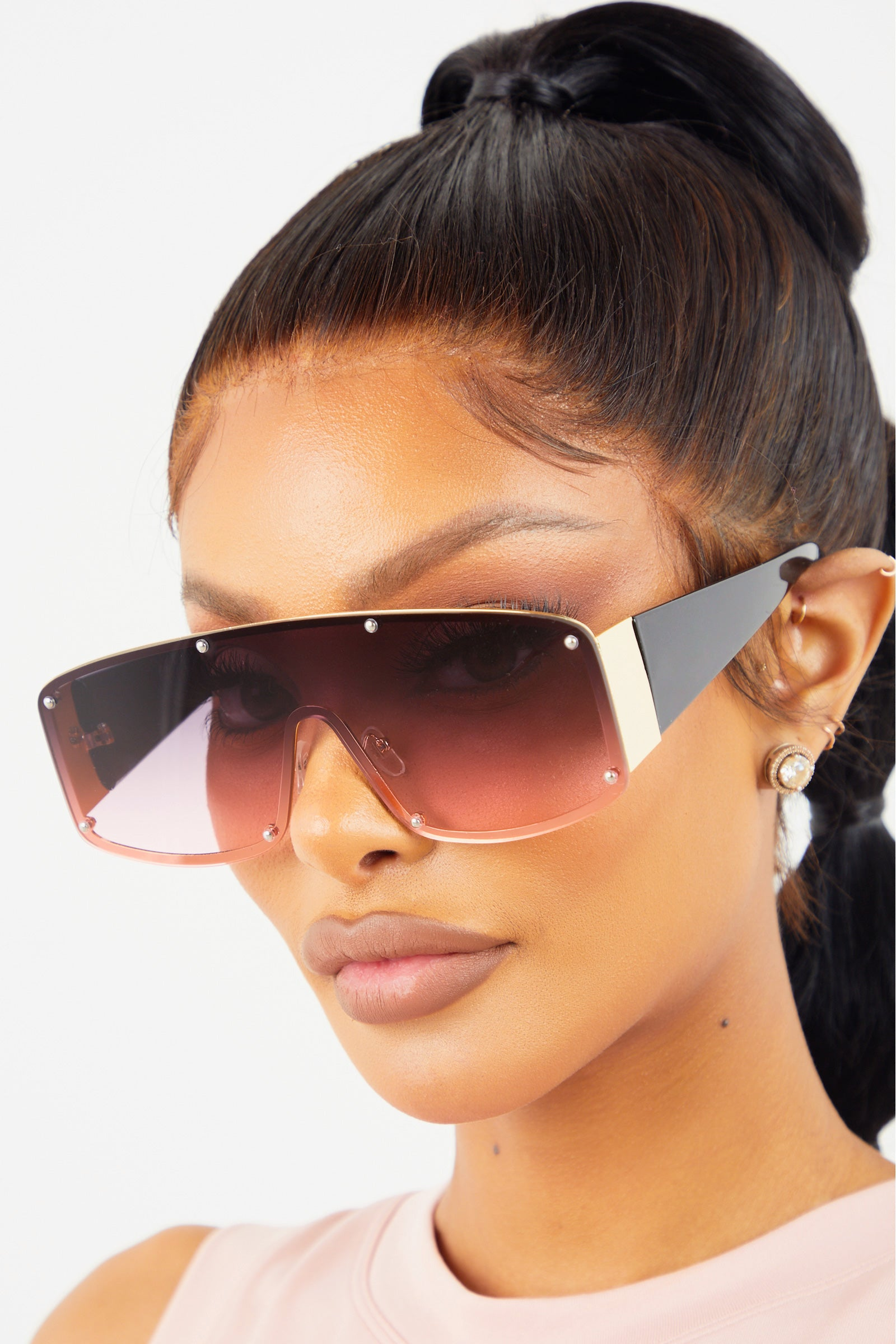 Pink Ombre Studded Wide Lens Sunglasses