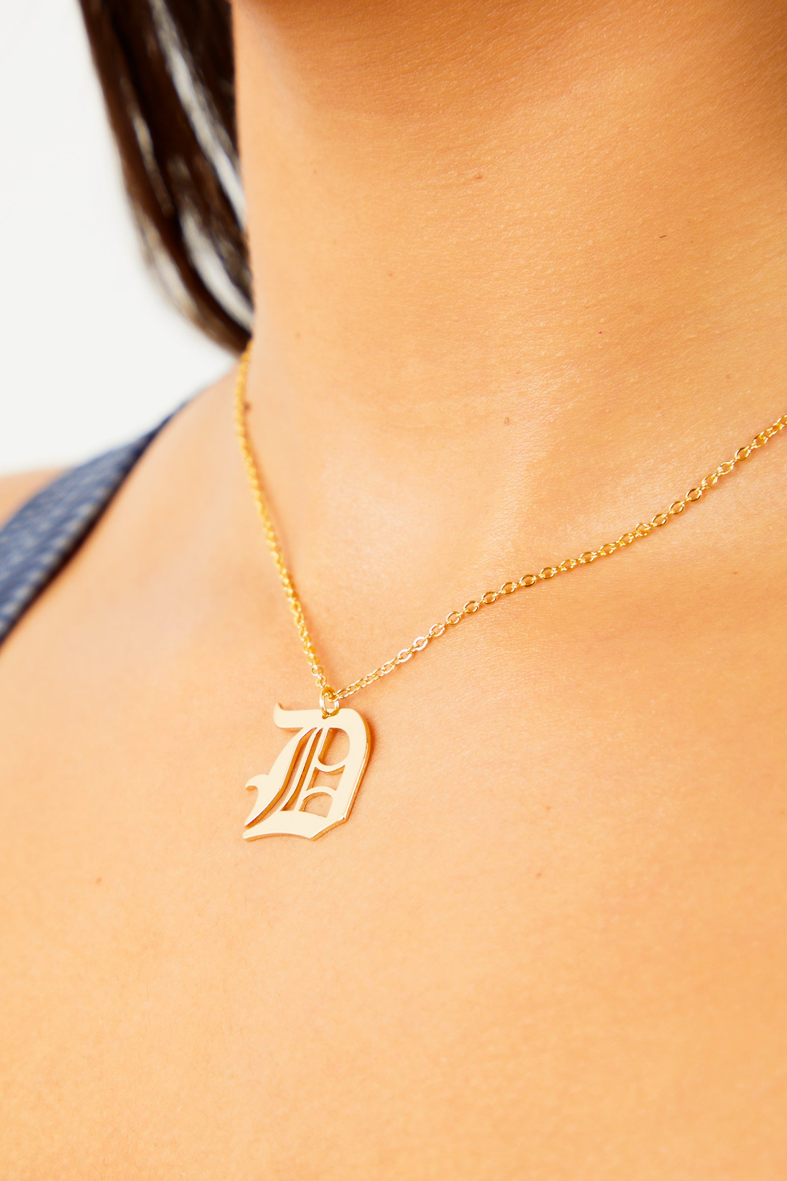 D Old English Initial Necklace