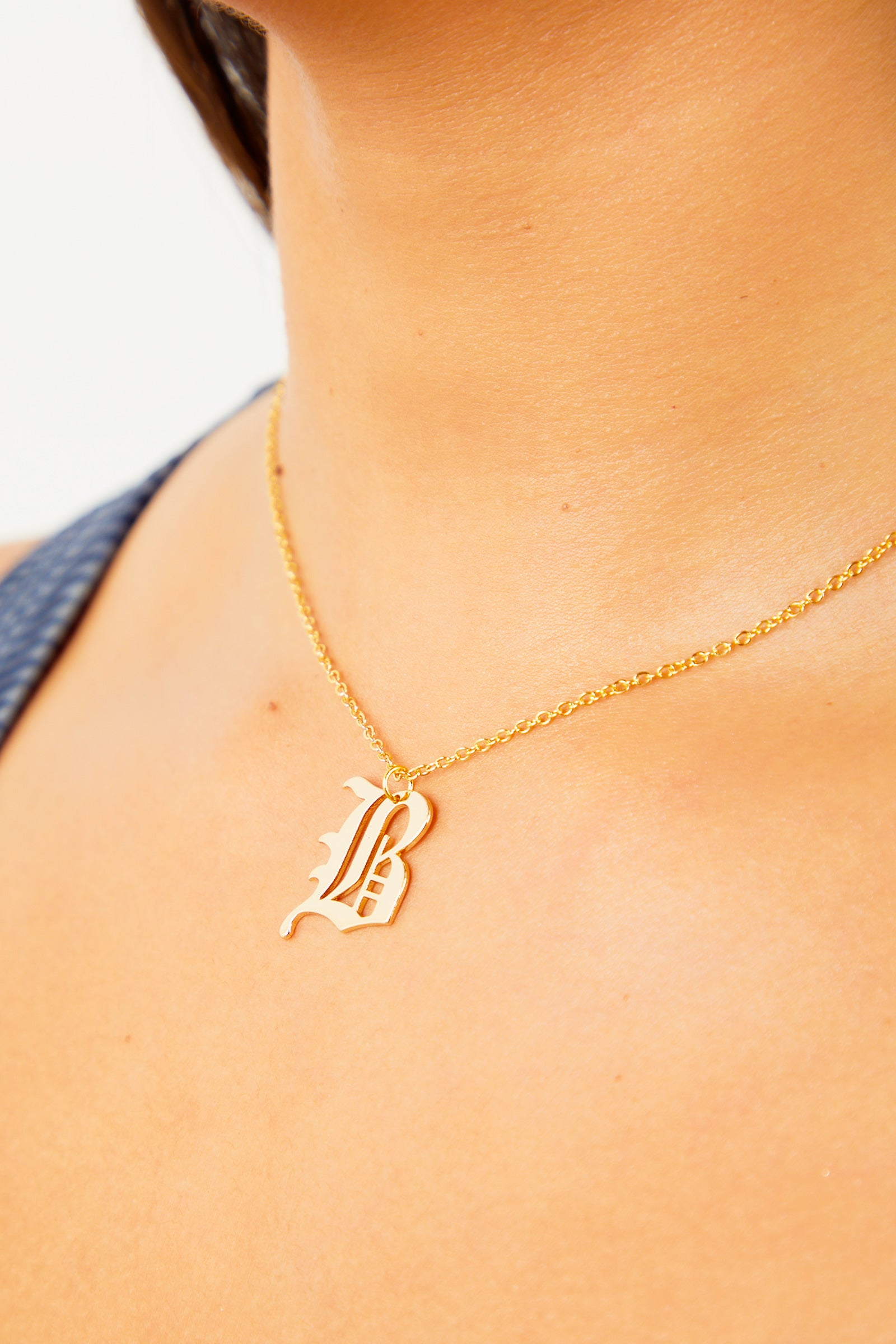 B Old English Initial Necklace