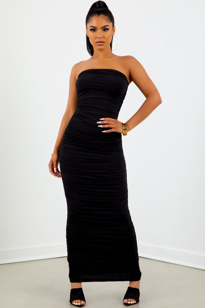 Sorella Strapless Ruched Dress - Black