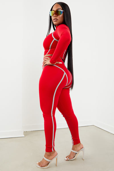 Red Thick Piping Two-Piece Set