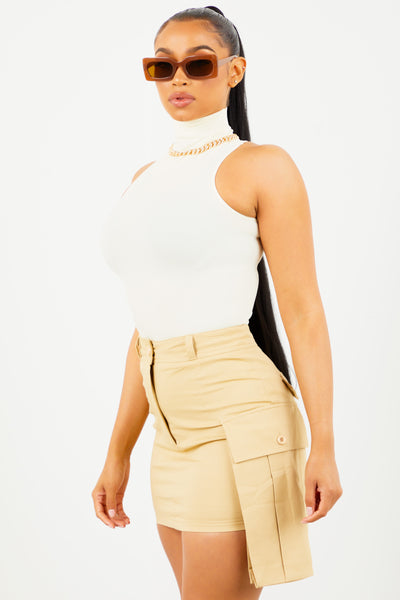 Cream Basic Mock Neck Top