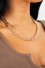 Thin Diamond Chain Necklace - Gold