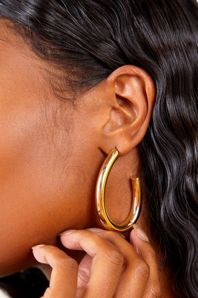 Gold Oval Hoop Earrings