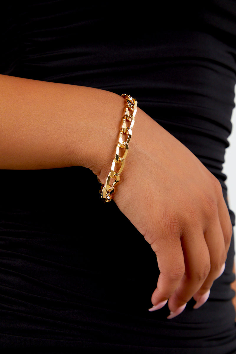 Gold Solid Chain Bracelet