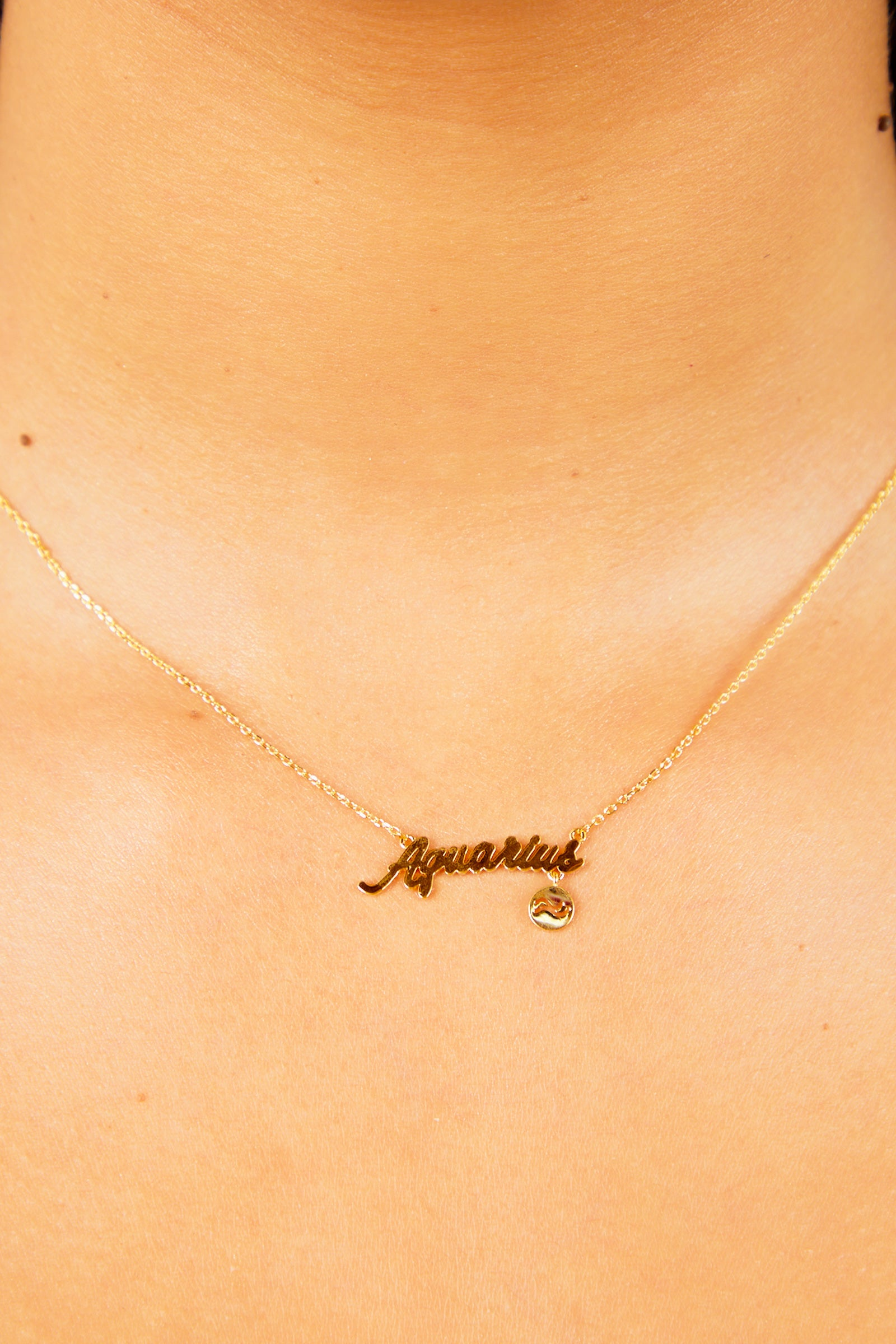 Aquarius Nameplate Necklace - Gold