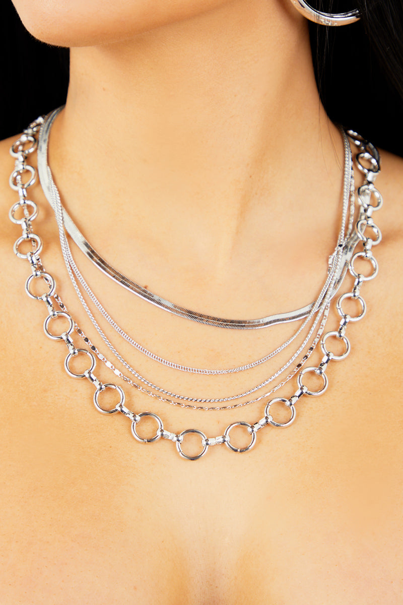 Silver Oval Layering Chain Necklace