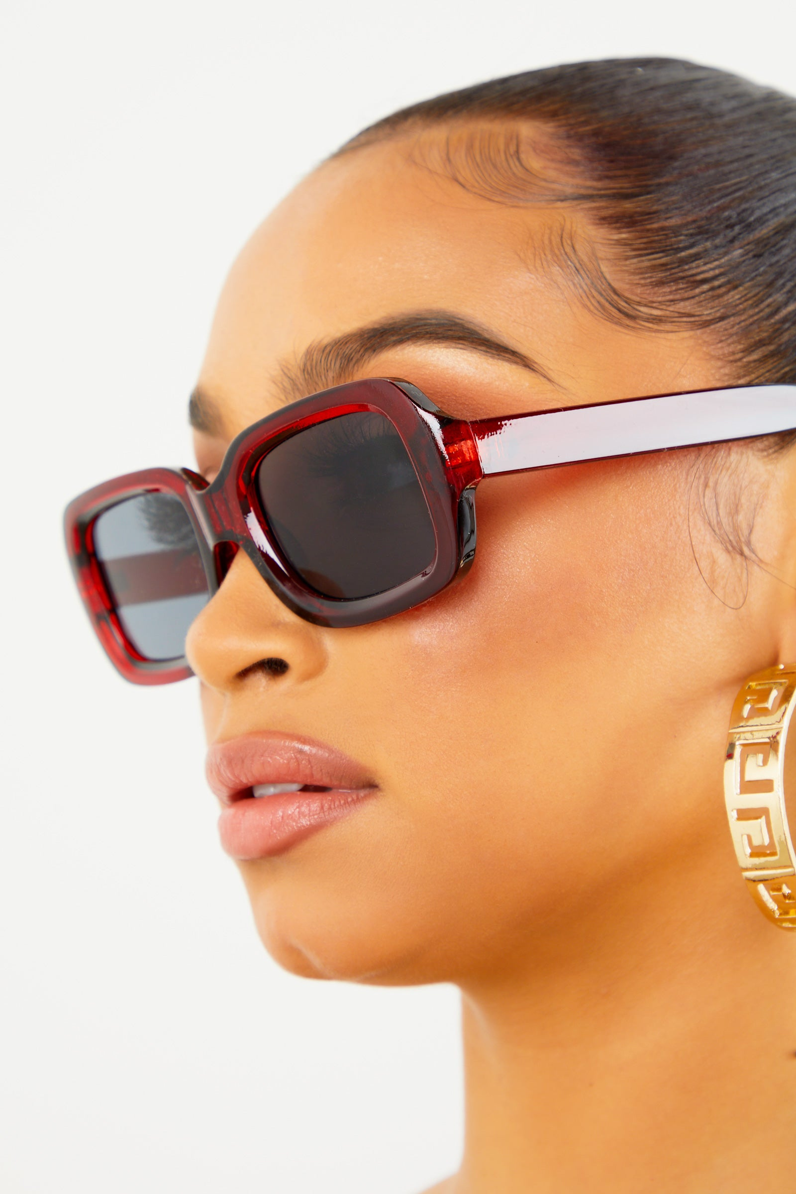 Red Chunky Rectangular Sunglasses